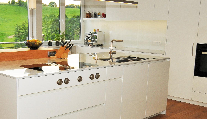 Eitelkeit Küche Und Mehr Beste Wahl Mtb-küche Mit Nanobeschichtung Matt Weiss, Carrara-marmor, Eiche