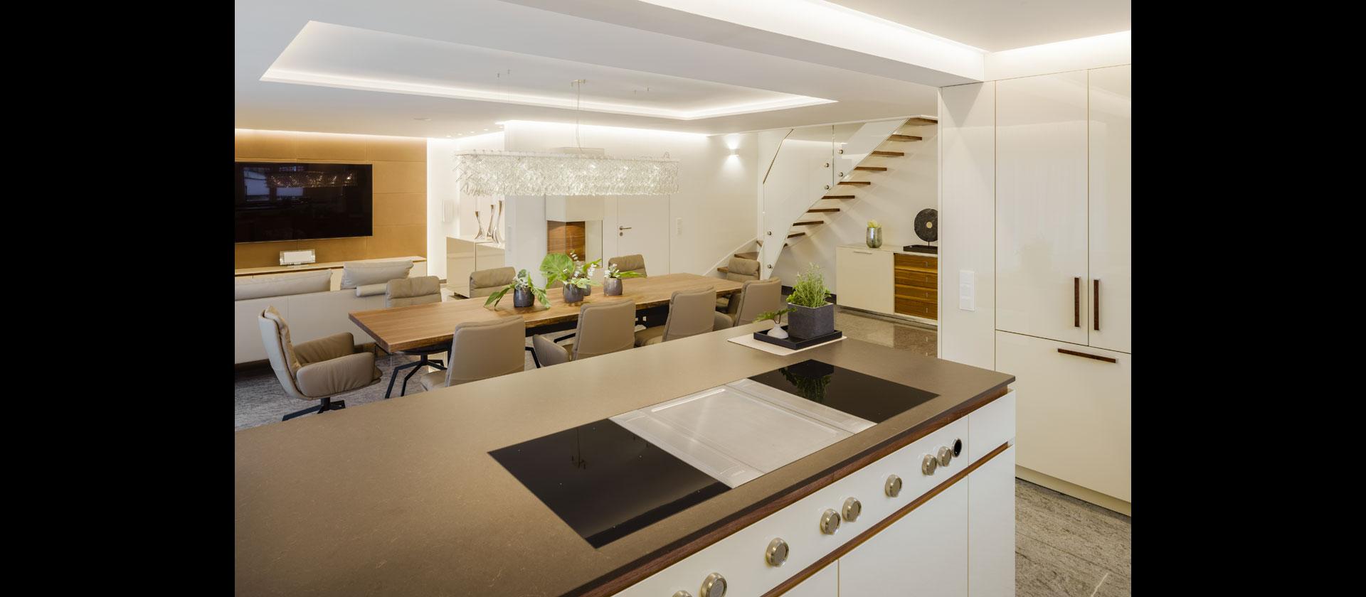 k che in wohnraum integriert lack mineralstein nussbaum. Black Bedroom Furniture Sets. Home Design Ideas